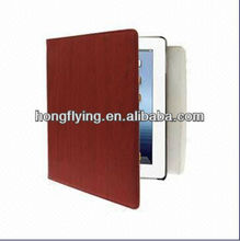 Grain Texture Multi-angle Adjustment Viewing Red Leather Case with Holder for New iPad 3
