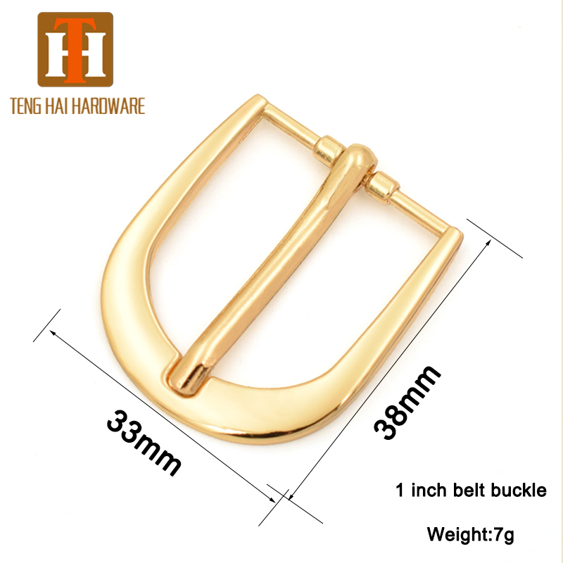 wholesaler 1 inch 25mm light gold pin belt buckle metal bridle buckle