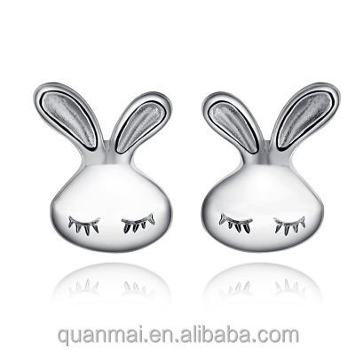 Maverick Wholesale Chic Simple Fashion Jewelry Hot-sale Charming Rabbit Face Shaped Silver Plated Stud Earrings for Female