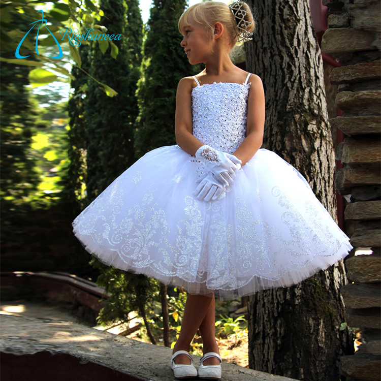 Satin Tulle Lace Crystal Beaded Dresses For Flower Girl Wedding