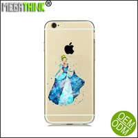 2016 Newest watercolor design silicone transparent Cinderella mobile phone case for samsung s5 s6 s6edge s6edge plus
