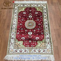 red popular handknotted silk 2.5x4ft handmade oriental persian rug tabriz