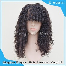 Black Women Natural Color 18 Inch Remy Virgin human hair Afro Kinky Curl mongolian Machine Made Wigs