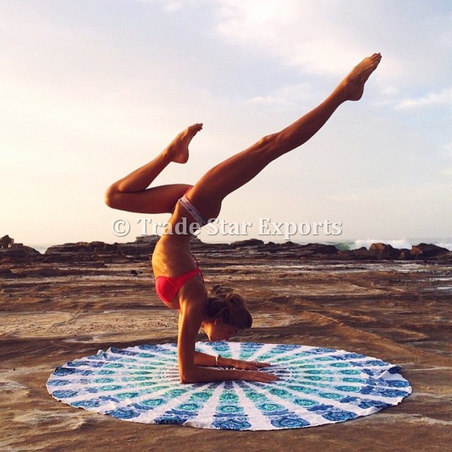 Round Mandala Beach Towel Wholesale Printed Indian Tapestry Hippie Yoga Mat Roundie Boho Picnic Throw Blanket