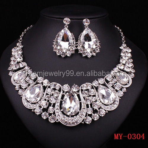 India jewelry classic crystal silver plated necklace with silver plated necklace earrings bridal bridal jewelry sets bridal acce