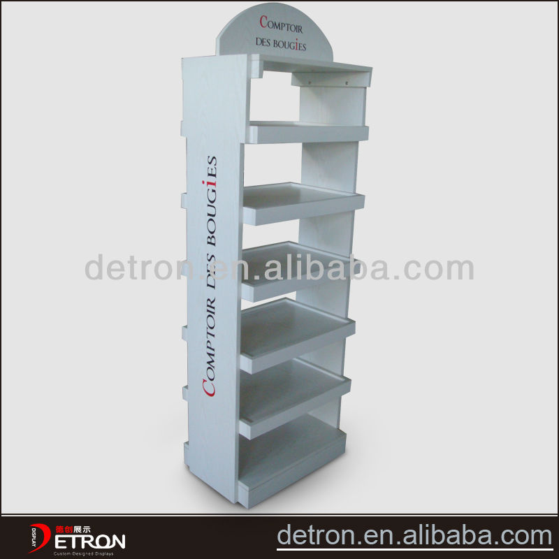 Nice simple mdf display rack wood flooring display rack pop display for candle