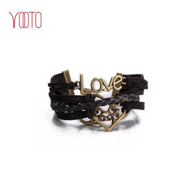 Couples bracelets set heart-shaped leather bracelet