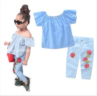 2017 european style girl outfit off shoulder t shirt flower printed pants summer baby child girl clothing set