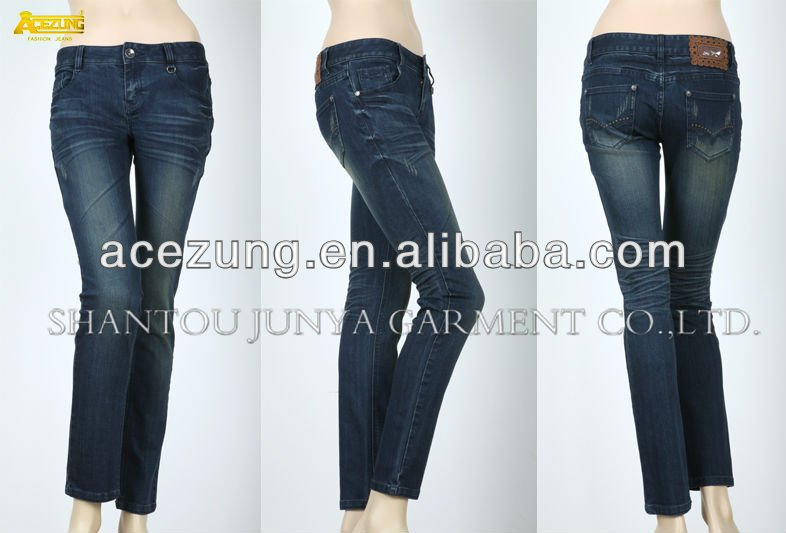 Wholesale lady's skinny designer jeans pants decorated with zipper & pockets