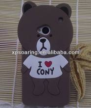 for htc one M7 3D smart bear silicone cover case