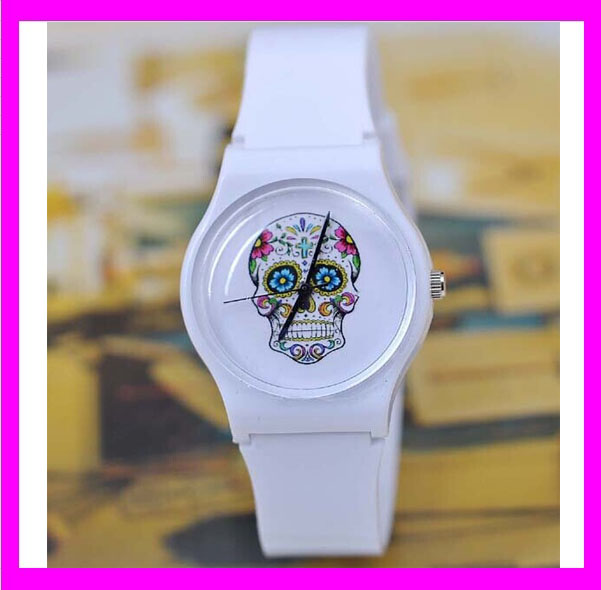 JC026 Simplehearted white silicone blank watch face for girls,skull design watch