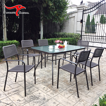 Modern Outdoor Garden Wicker Furniture Patio Dining Table Set with Stacking Chair
