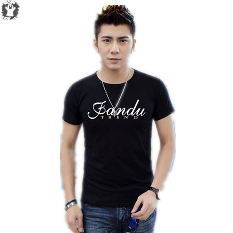 New 2015 Hot Summer Style Mens Shirts Slim O-Neck Casual Shirt Men  Solid Letter Print T-shirt Sports Man Clothing Cotton Top