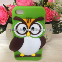 cellphone silicone owl cover case for iphone 4 4g