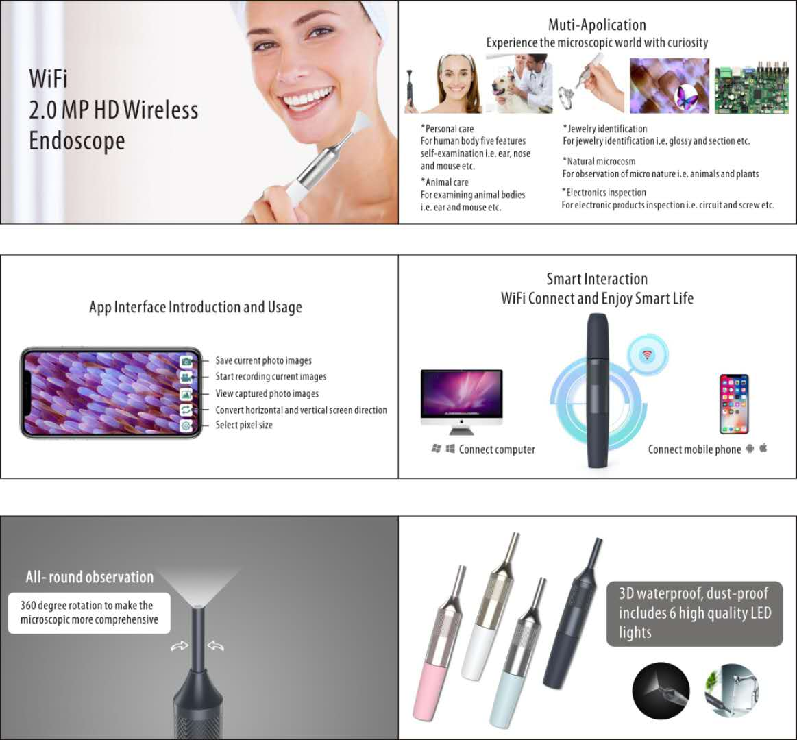 New Wifi Wireless Endoscope for Skin Inspection HD Camera for Android & IOS Smartphone iPhone Samsung Tablet Really Handy
