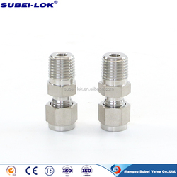 ISO 9001 passing stainless steel adjustable compression fitting ,thread fitting pipe