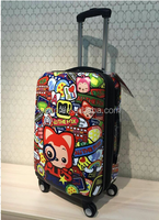 colorful cartoon printed ABS+PC Travel Zipper Luggage HARD CASE.