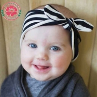 Baby Girl Kids Infant Toddler Soft Stretch Stripe Rabbit Bow Turban Hairband Headband Head Wrap Hair Accessories 590