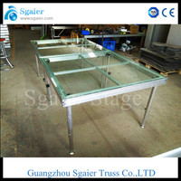 New design event,activity mobile glass stage / adjustable height is from 800mm to 1200mm