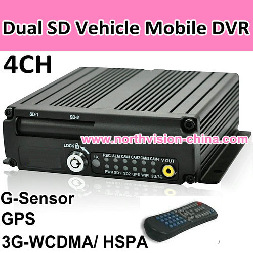 car mobile dvr by dual sd card, with gps, g-sensor, 3g, support power out for camera
