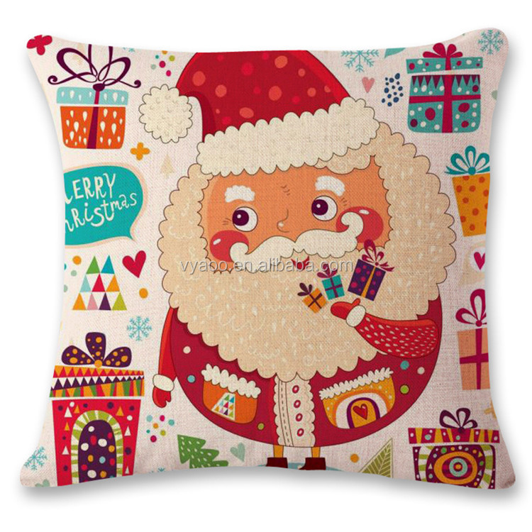 Personality art cartoon red Santa Claus English letter creative cotton flax pillow hotel office cushion
