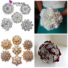 Elegant Customized Bridal rhinestone pearl brooches for Wedding Bouquet,Romantic Wedding Colorful Bride 's Bouquet
