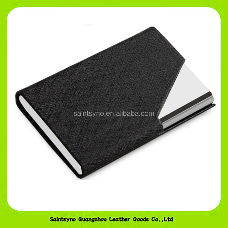 16366 Fancy Saffiano RFID Blocking Business Men Women Credit Name Card Holder Metal Card Case
