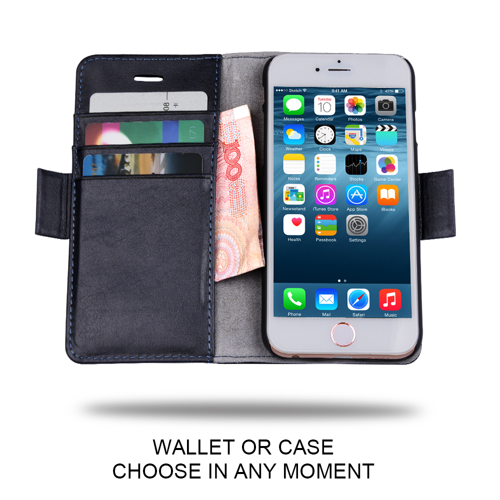 C&T RFID Detachable Wallet Folio Leather Stand Card Slots Case Cover For iPhone 6s