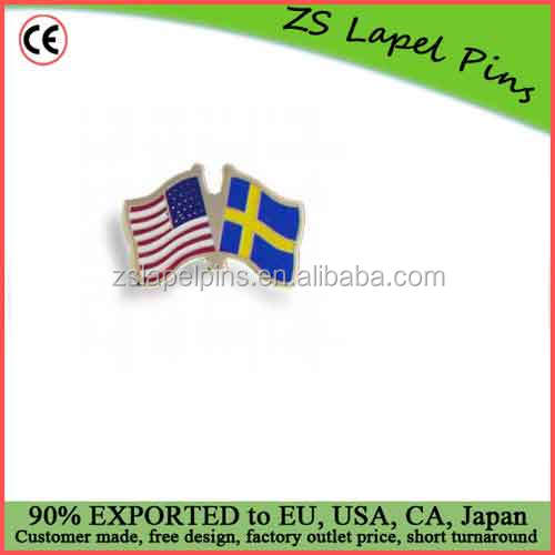 Free artwork design custom quality promotional gift Sweden and US Flags Lapel Pins