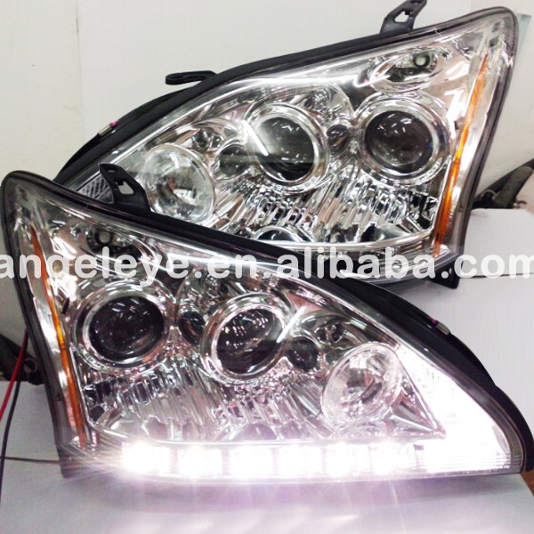 2004-2009 Year Lexus RX330 RX350 LED Headlights Head Lamps Chrome Housing Yellow Reflector SN