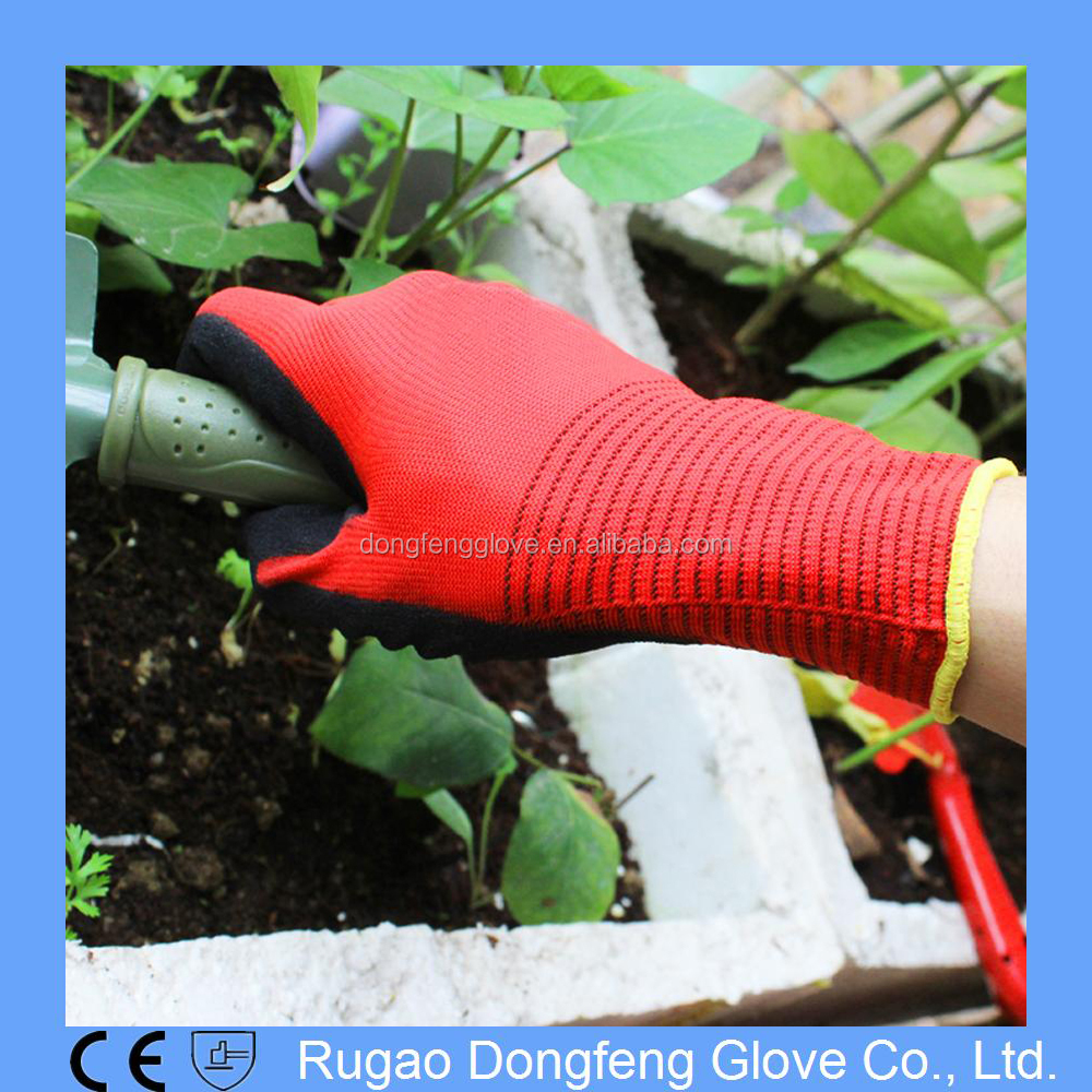 Factory Price Hand Protection Sandy Nitrile Dipped Garden Work Gloves/Nitrile Coated Garden Gloves