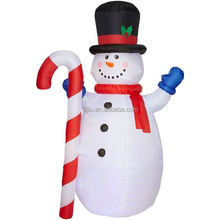 Leading supplier rental decorating items snowman holding striped crutch red scarf wholesale christmas ornament suppliers