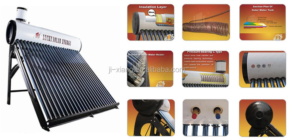 Instant Heating solar system Pre-heated Pressurized Solar Water Heater with feeder tank for supplying Clean Hot Water