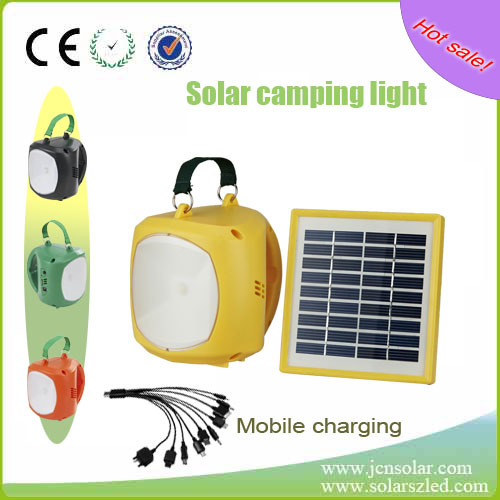 solar rechargeable outdoor&indoor lamp plastic led handy solar powered camping light
