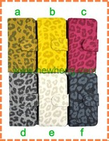 good quality Leopard grain flip Leather Case for iphone5 5g