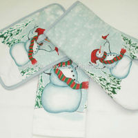 Snowman Printed X'mas kitchen 3pcs set/oven mitt/pot holder/tea towel
