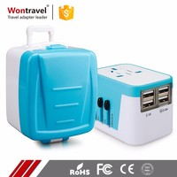 Latest Design Mobile Phone Hotel Car Use AC DC Travel Adaptor 4USB Universal Charger Adapter Plug