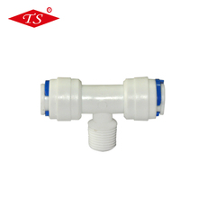 K6064 easy install small tee joint pipe fitting/ro quick connector with 3/8'' tube pore & 1/4'' male thread