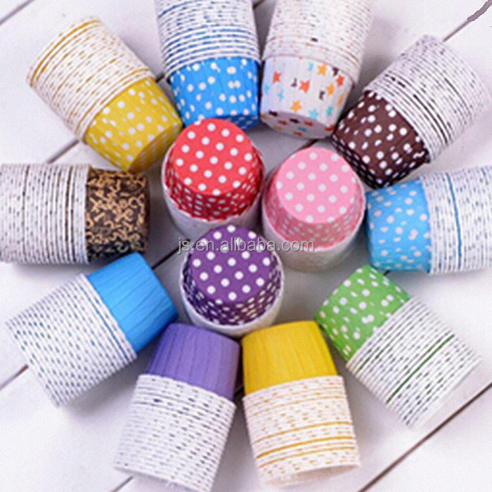 mini blue/coffee color circles cupcake liners baking paper cup muffin cases for party