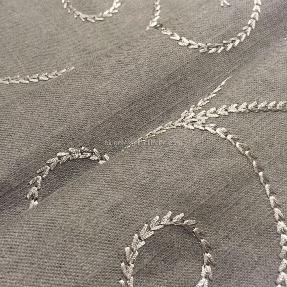 embroidered linen fabric for garment