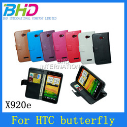 PU leather wallet cell phone case for HTC X920e