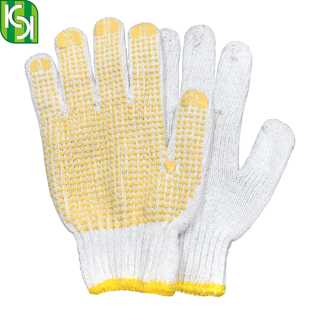 Bleached PVC Dotted Cotton Working Hand Safety <strong>Gloves</strong>