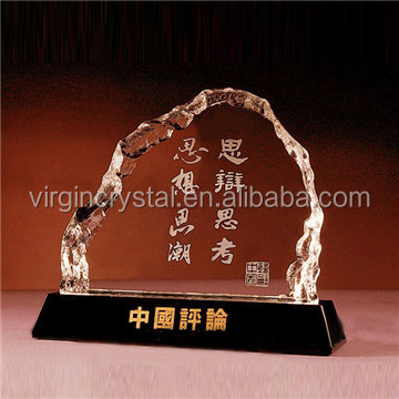 Optic Crystal Glass Round Blank Iceberg Block Awards