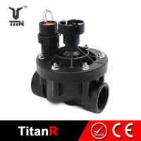 Water treatment irrigation solenoid valve with flow control