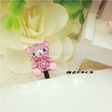 free shipping cute bear headphone dust plug (CYY-063)