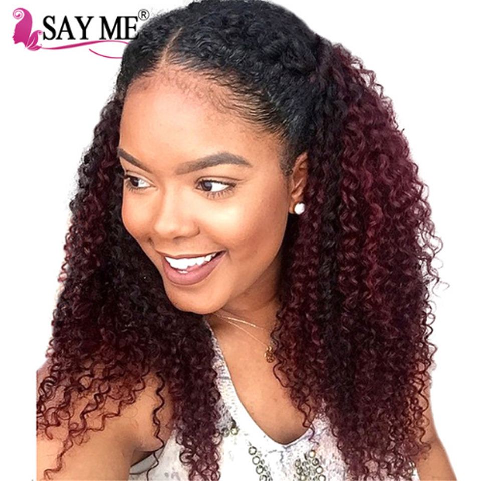 Vending Machine Colored Two Tone 1B Burgundy/99j Mongolian Kinky Curly Hair Weave Extensions