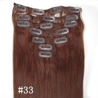 Free Shipping 22 inch Brazilian Virgin Hair Human Hair Extension Silky Straight clip in hair extensions