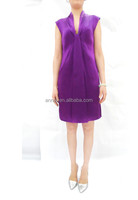 ES-3492A WHOLESALE NEW 2016 SILK STAIN MID LENGTH PURPLE PARTY COCKTAIL DRESS