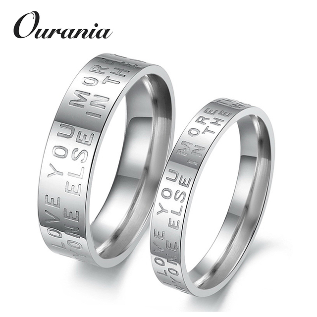 Wholesale Letters Engraved Titanium Wedding Band Ring Sets for His and Hers