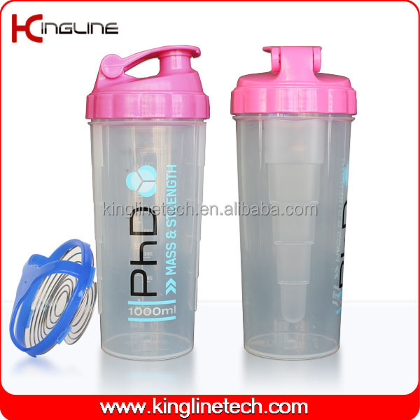 Wholesale 700ml plastic protein shaker cup with mixer ball (KL-7007)